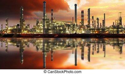 huile, essence, industrie, -, raffinerie, mouvement