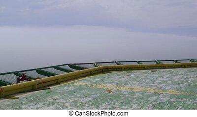 huile, essence, plate-forme, production, héliport, mer