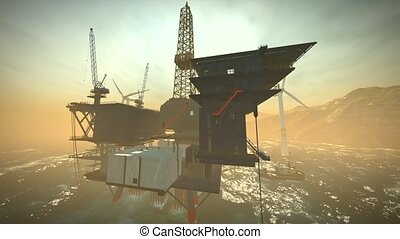 huile, fermé, turbines, plate-forme, rivage, derrick, vent