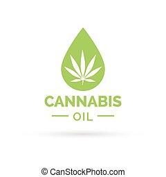 huile, feuille, symbole, goutte, marijuana, cannabis, icône