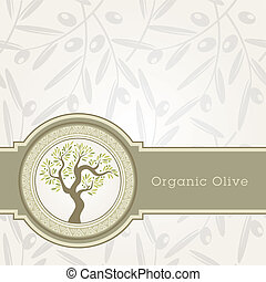 huile, gabarit, olive, étiquette