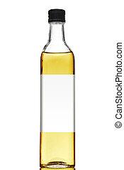 huile, isolé, étiquette, bouteille, vide, olive, blanc