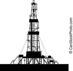 huile, isolé, derrick, arrière-plan., silhouette, blanc