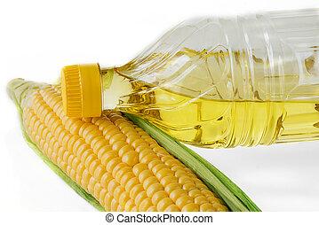 huile maïs, fond blanc