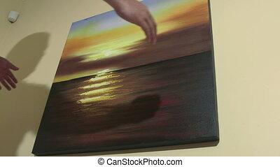 huile, mur, marine, coucher soleil, tableau, homme