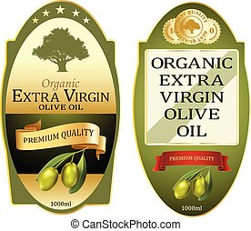huile, olive, étiquettes, prime, bannières, élégant, set., conception