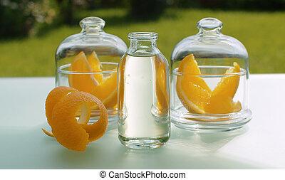 huile, orange, base, zeste