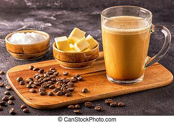 huile, pare-balles, beurre, organique, mct, mélangé, noix coco, café