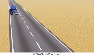 huile, résumé, camion, pétrolier, désert, route, 3d
