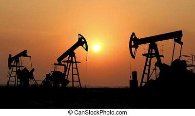 huile, silhouette, fonctionnement, timelapse, contre, pompes, coucher soleil