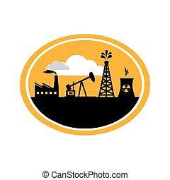 huile, silhouette, usine, machine, extraction, matériels, fond, ovale, radioactif, frontière