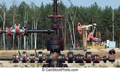 huile, tube, puits, ou, tuyau, pomper cric, russie