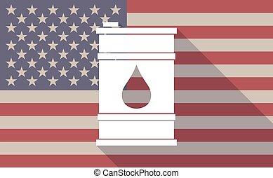 huile, usa, long, drapeau, vecteur, ombre, baril, icône