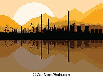 huile, usine, illustration, raffinerie, industriel, collection, paysage