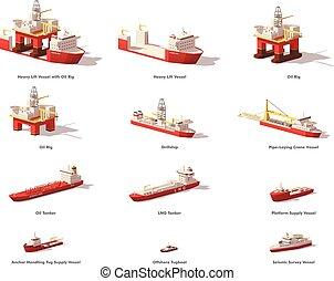 huile, vecteur, vaisseaux, mer, poly, exploration, bas