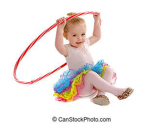 hula cerceau, minuscule, danseur, tot, étudiant
