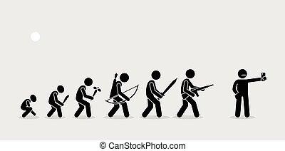 humain, armes, histoire, timeline., évolution
