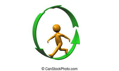 humain, flèches, marche, cercle, icône, formé