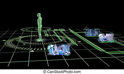 humain, interface, tournant, corps