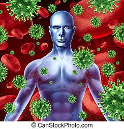 humain, maladie, infection