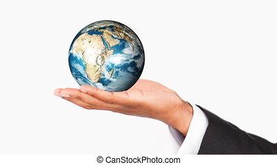 humain, planète, main, la terre, tenue
