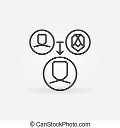 humain, reconnaissance, vecteur, figure, icône, technologie, linéaire