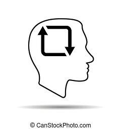 humain, silhouette, icône, tête, reprise