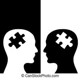humains, deux, profils, couleurs, noir, blanc