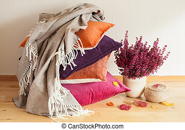 humeur, maison, fleur, jeter, confortable, coussins, coloré, feuille automne