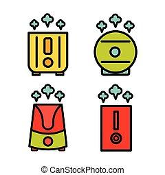 humidificateur, icône, 2, ensemble