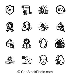 humidité, vecteur, non, tel, care., beauté, ensemble, peau, soleil, icônes