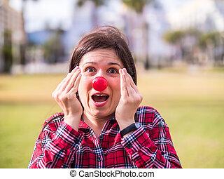 humour, avril, concept., jeune, nose., day., girl, rigolote, surpris, clown, plaisanterie, portrait, fools
