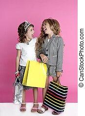 humour, peu, shopaholic, acheteur, filles