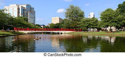 huntsville, grand, parc, en ville, panoramique, printemps, cityscape, alabama