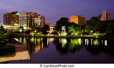 huntsville, printemps, après, parc, scène, en ville, alabama, coucher soleil, grand, cityscape