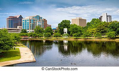 huntsville, printemps, parc, scène, en ville, alabama, grand, cityscape