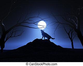 hurlement, 3d, loup, render, lune