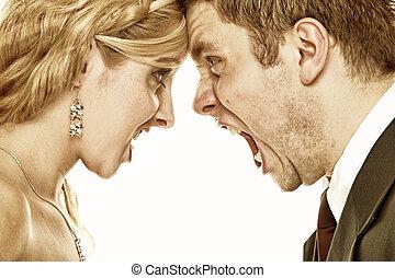 hurlement, relation, fureur, couple, difficultés, mariage