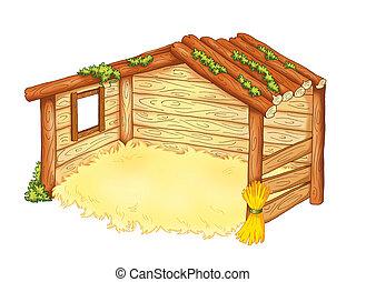 hutte, mangeoire
