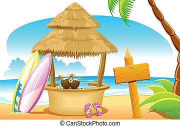 hutte paille, surfer, plage, planche