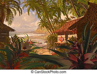 hutte, plage, polynésien