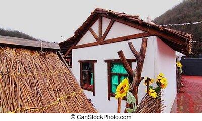 hutte, russia., adobe, maison