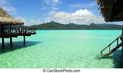 huttes, exotique, recours, bungalow, mer, plage