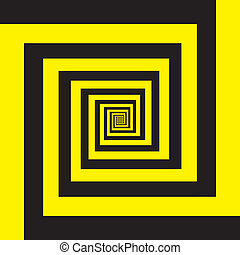 hypnotique, noir, spirale, jaune