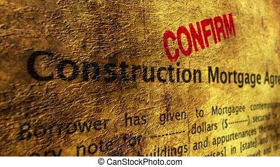 hypothèque, construction, accord, confirmer
