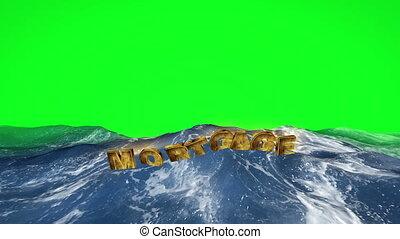 hypothèque, texte, écran, eau, vert, flotter