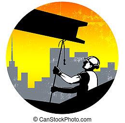 i-beam, ouvrier construction, retro, poutre