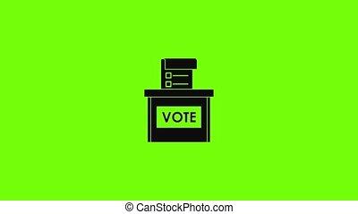 icône, élection, animation, boîte, vote