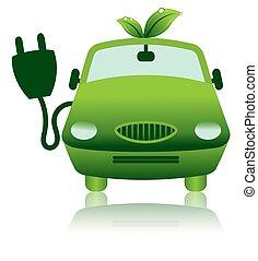 icône, électrique, hybride, voiture, vert