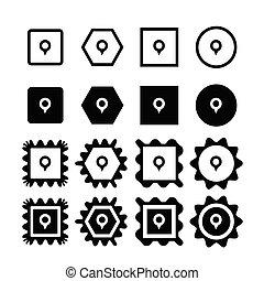 icône, épingle, carte
